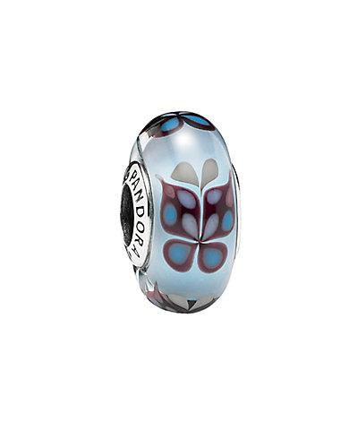 PANDORA Silver Butterfly Murano Glass Charm