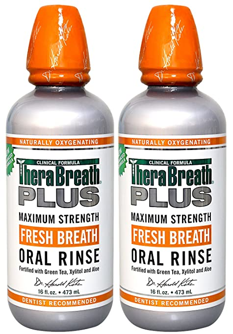 TheraBreath PLUS Professional Formula GREEN TEA MOUTHWASH - Extra Strength, 16 Ounce (Pack of 2)