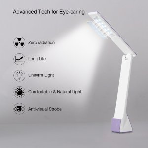 Roleadro 4W Adjustable LED Table Light Reading Sleeping Dimmable Lamp USB Charge Port 3 Brightness levels (Purple)