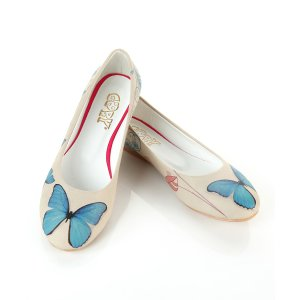 Goby White & Blue Butterfly Ballet Flat - Women | zulily