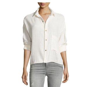 Current/Elliott Long-Sleeve Boxy Cotton Shirt