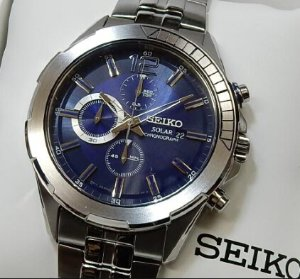 SEIKO Recraft Solar Chronograph Blue Dial Stainless steel Men's Watch SSC381