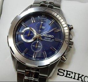 SEIKO Recraft Solar Chronograph Blue Dial Stainless steel Men's Watch SSC381
