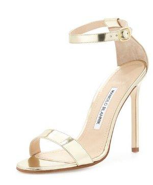 $321(reg.$725) Manolo Blahnik Chaos Metallic Stiletto Sandal