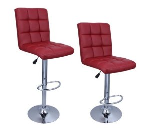 $73.09 BELLEZZA Adjustable Hydraulic Bar Stool, Merlot Red, Set of 2