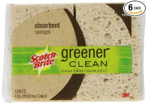 $7.60 + Free Shipping Scotch-Brite Greener Clean Absorbent Sponge, 4-Count (Pack of 6)