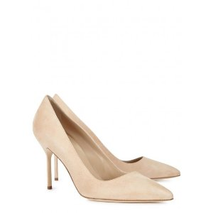 Manolo  BB 90 almond suede pumps