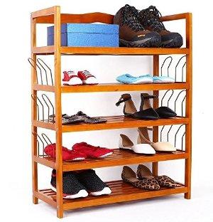 Homfa 5-Tier Wooden Shoe Shelf Storage Organizer Entryway Shoe rack