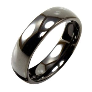 Light Tungsten Black Domed 6mm Ring