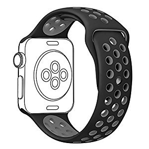 Amazon.com: OULUOQI 38mm Soft Silicone Replacement Band with Ventilation Holes for Apple Wacth Nike+, Series 2, Series 1, Sport, Edition,M/L Size ( Black / Gray ): Cell Phones & Accessories