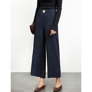 Pinstripe Button Wrap Pants