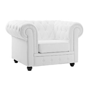 Chesterfield White Tufted Leather Chair   Sofa Mania - Sofamania