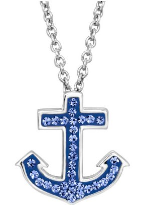 Anchor Pendant with Blue Swarovski Crystals