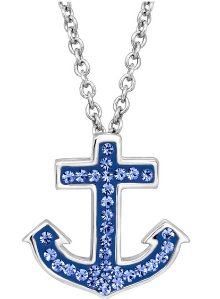 Anchor Pendant with Blue Swarovski Crystals