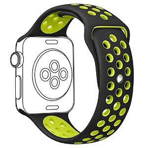 Amazon.com: OULUOQI 38mm Soft Silicone Replacement Band with Ventilation Holes for Apple Watch Nike+, Series 2,Series 1,Sport,Edition, S/M Size ( Black / Volt Yellow ): Cell Phones & Accessories