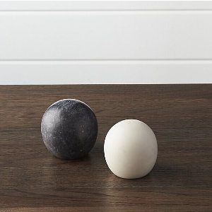Marble Salt and Pepper Shakers   Crate and Barrel