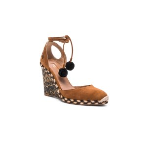 Aquazzura Suede Palm Beach Espadrille Wedges in Cognac | FWRD