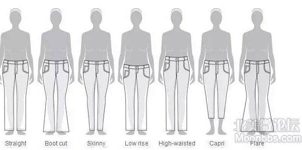 的裤型;裤子的内接缝(inseam)最好靠前一点,能显得腿比较细.