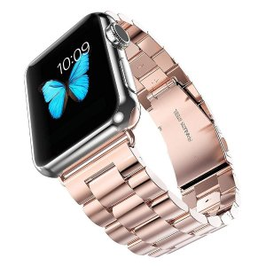 Evershop iwatch Band 38MM Rose Gold Stainless Steel Replacement Watch Strap Wrist Band