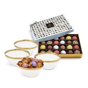 Gold Trim Bowls & Chocolate Patisserie Truffles Gift Set | GODIVA