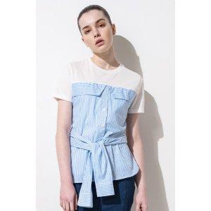 FRS Mock Two Pieces Stripe Tie Front Cotton T-shirt