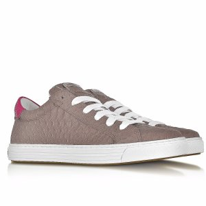 DSquared2 Tennis Club Grey and Fuchsia Embossed Leather Sneaker 40 (10 US | 7 UK | 40 EU) at FORZIERI