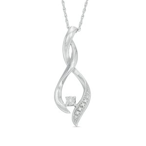 Diamond Accent Twist Flame Pendant in Sterling Silver - Save on Select Styles - Zales