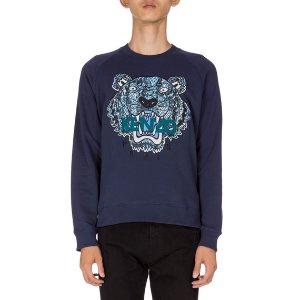 Kenzo Python-Print Tiger Logo Sweatshirt, Navy