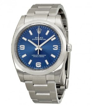 ROLEX Oyster Perpetual Blue Arabic Dial Domed Bezel Men's Watch