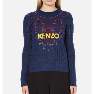 KENZO Women's Long Sleeve Tiger Jumper - Blue - Free UK Delivery over £50