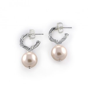 Ribbon and Reed Bead Earrings in pink shell pearls and sterling silver