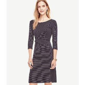 Pinstripe Ponte Twist Dress | Ann Taylor