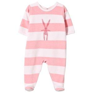 Petit Bateau Pink Stripe Rabbit Velour Babygrow | AlexandAlexa