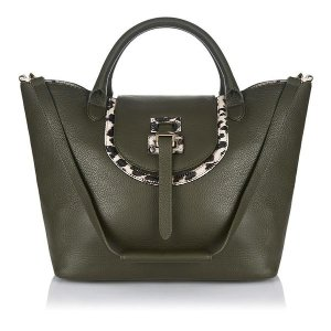 Luxury leather tote bag in military & leopard | meli melo Double 12 sale