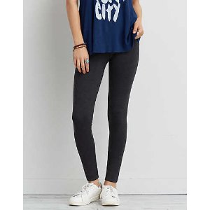 AEO Low Rise Heathered Legging , Charcoal | American Eagle Outfitters