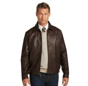 $199Signature Collection Traditional Fit Leather Bomber Jacket