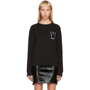 Versus: Black Embroidered V Sweatshirt