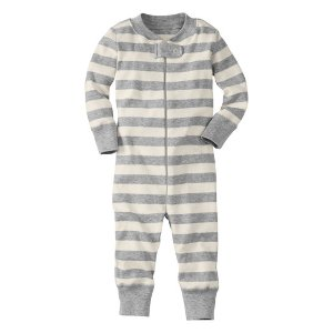 Hanna Andersson Ecru & Heather Stripe Night Night Organic Cotton Playsuit | zulily