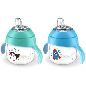 Avent 2 Pack 7 Ounce My Little Sippy Cup - Blue/Teal - Avent - Babies