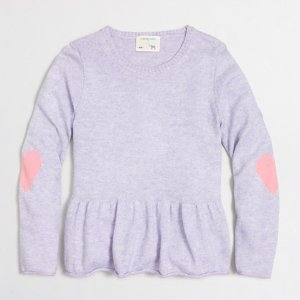 Girls' peplum popover sweater with heart elbow patches : sweaters | J.Crew Factory