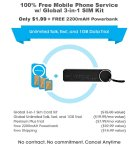 $1.99 FreedomPop 100% Free Mobile Phone Service with Global 3-in-1 SIM Kit @ FreedomPop