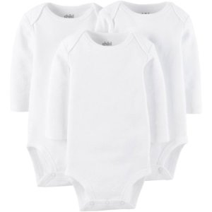 Child Of Mine By Carter's Unisex Long Sleeve Bodysuit, 3 Pack