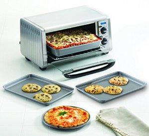 Lowest price! $13.93( reg.$40 ) Farberware Nonstick Bakeware 4-Piece Toaster Oven Set, Gray