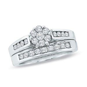 1/2 CT. T.W. Diamond Flower Bridal Set in 10K White Gold