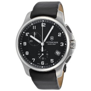 Victorinox Swiss Army Men's Officer's Chrono Black Genuine Leather and Dial Stainless Steel | World of Watches