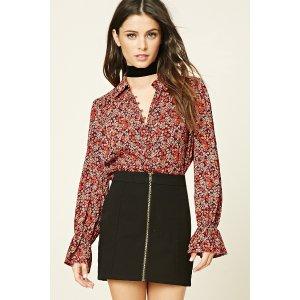 Semi-Sheer Floral Print Shirt