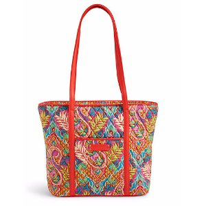 Small Trimmed Vera Tote in Paisley in Paradise with Red