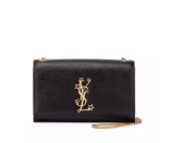 Saint Laurent Monogram Medium Stars Logo Chain Shoulder Bag, Black
