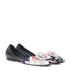 Roger Vivier - Chips printed canvas and leather ballerinas