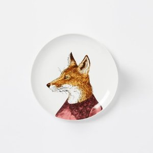 Dapper Animal Salad Plates - Fox and Bear | west elm